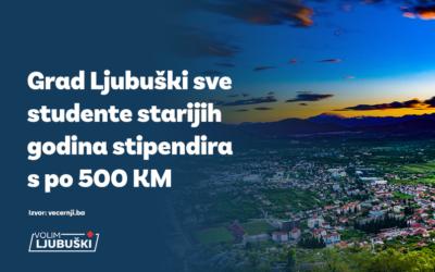 Grad Ljubuški sve studente starijih godina stipendira s po 500 KM