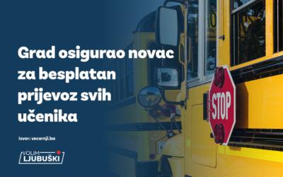 Grad osigurao novac za besplatan prijevoz svih učenika