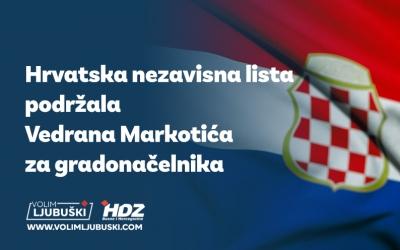Hrvatska nezavisna lista podržala Vedrana Markotića za gradonačelnika